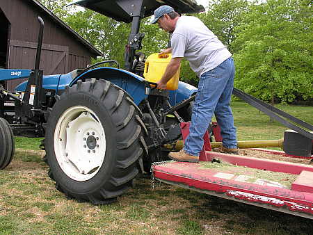 Fueling the tractor