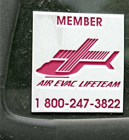 AirEvac Lifeteam window decal