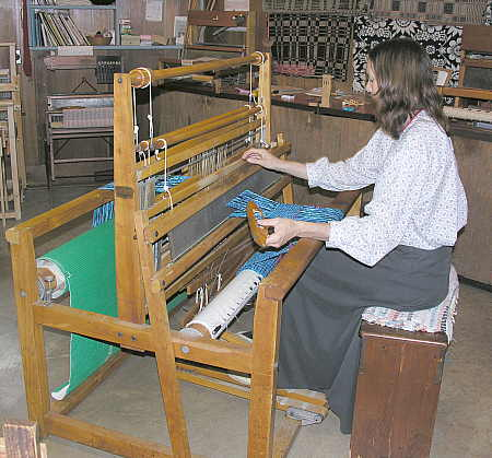 Weaving on loom at Ozark Folk Center
