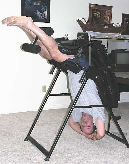 Hanging in an inversion chair