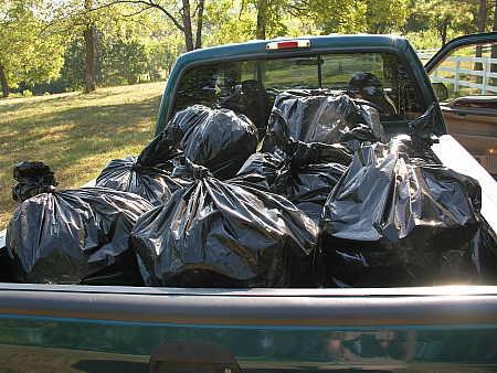 Loaded trash truck