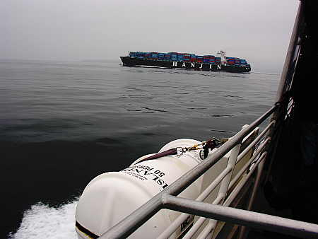 Crossing the path of a container ship in the Santa Barbara Channel