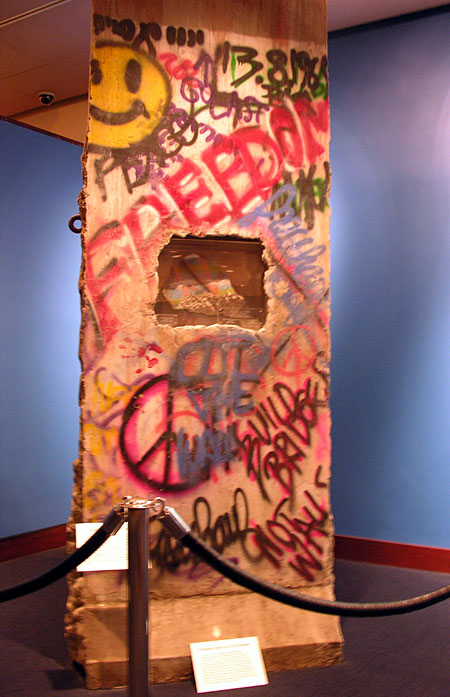 Indoor display of a Berlin wall segment