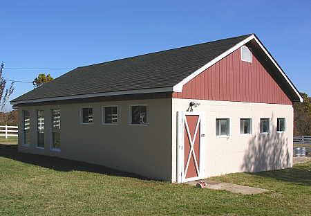 Rear of former dairy barn building