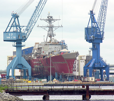 Ship under construction at the Bath Iron Works