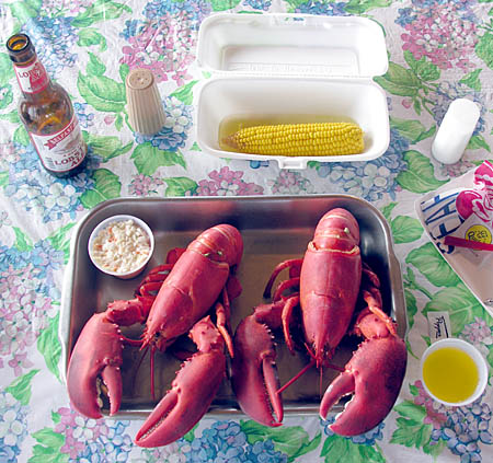 Twin lobster dinner, with all the fixings