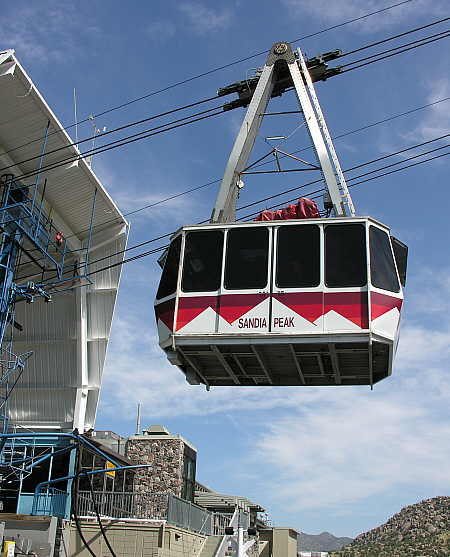 Tram car departing the base station