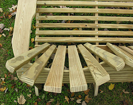 Contoured loveseat back slats